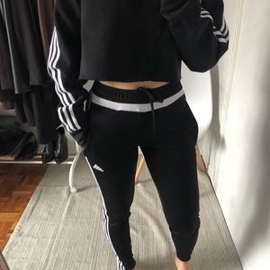 Adidas black and white women track pants